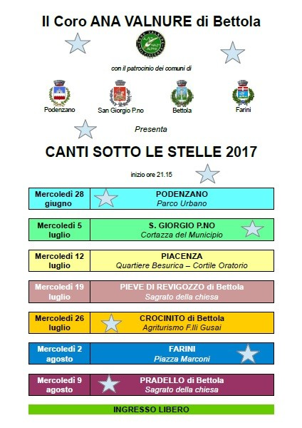 Canti sotto le stelle 2017